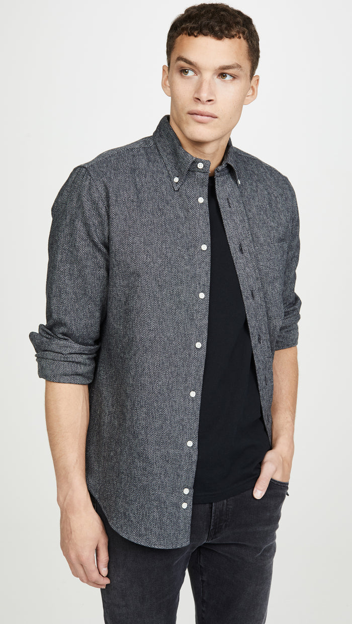 Gitman Cotton Tweed Shirt, Grey