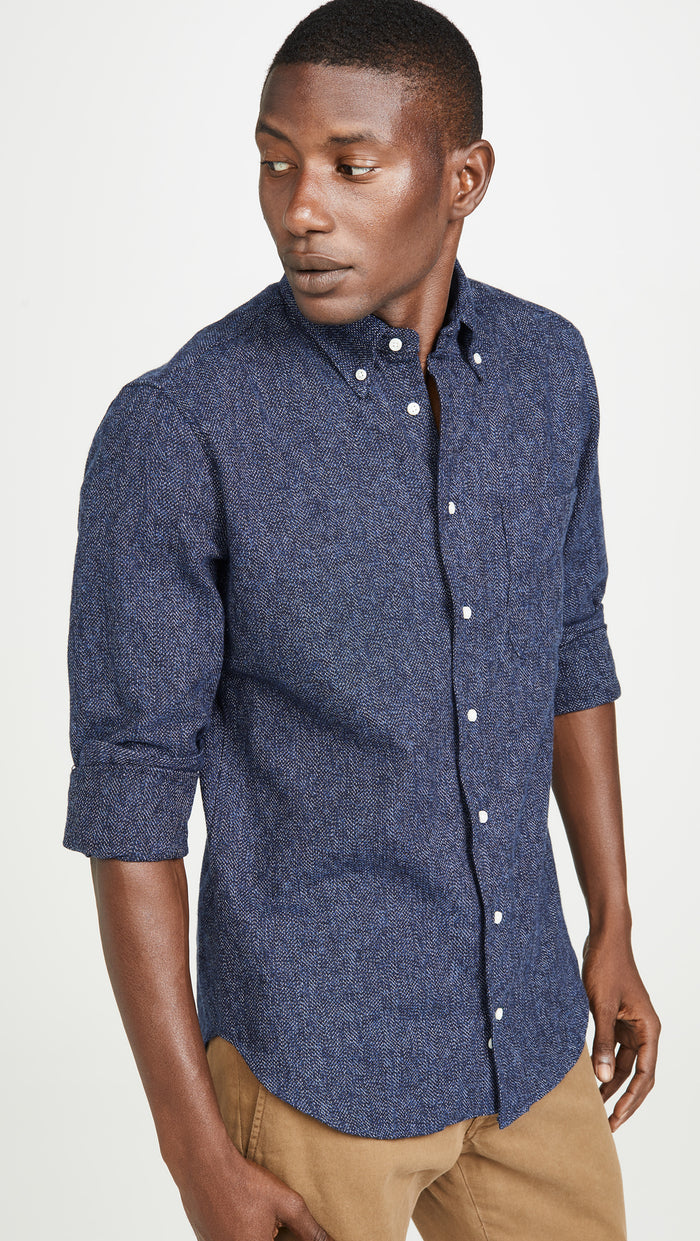 Gitman Cotton Tweed Shirt, Navy