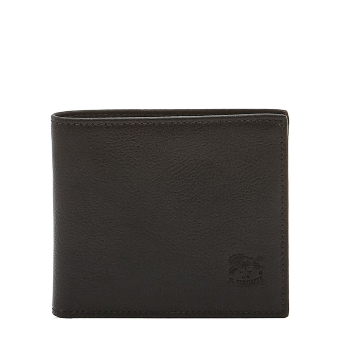 Il Bisonte Men's Bi-Fold Wallet in Cowhide Leather (C0437), Black (153)