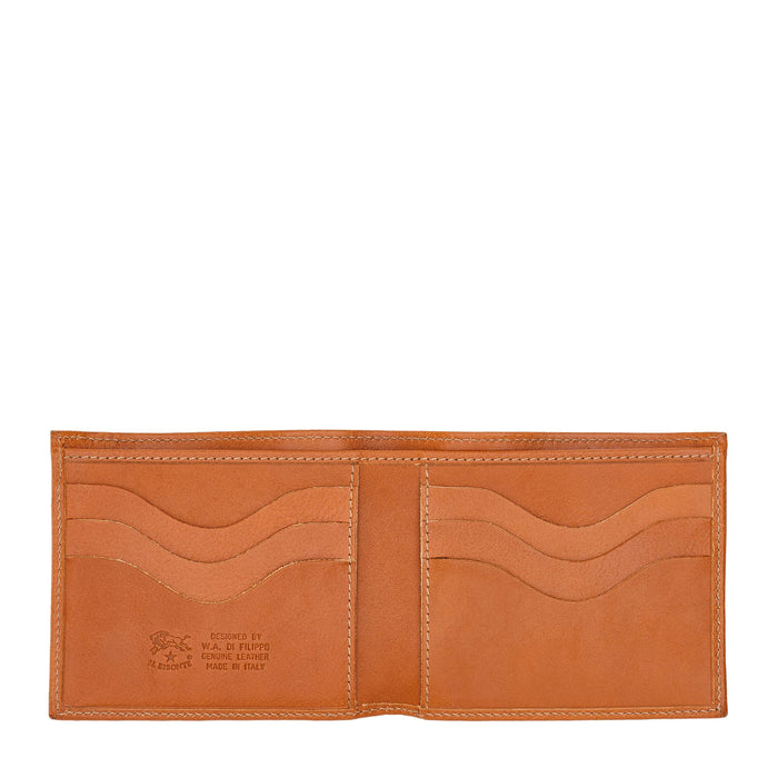 Il Bisonte Men's Bi-Fold Wallet in Cowhide Leather (C0437), Caramel (145)