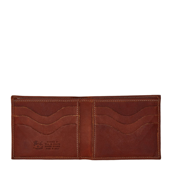 Il Bisonte Men's Bi-Fold Wallet in Vintage Cowhide Leather (C0437), Dark Brown Seppia (566)