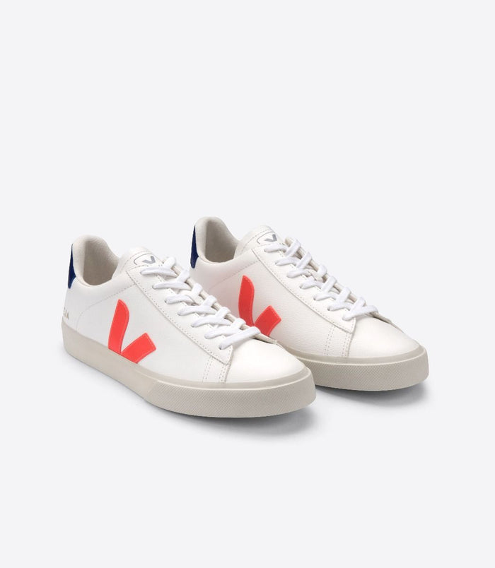 Veja Women's Campo Chromefree, Extra White/Orange Fluo/Cobalt