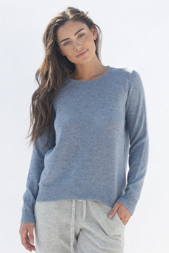 Oats Cashmere Kendra Sweater, Chambray