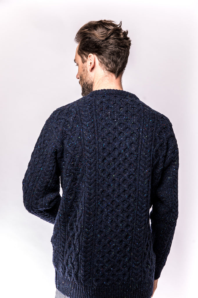 Portland Dry Goods Carraig Luxe Aran Sweater navy