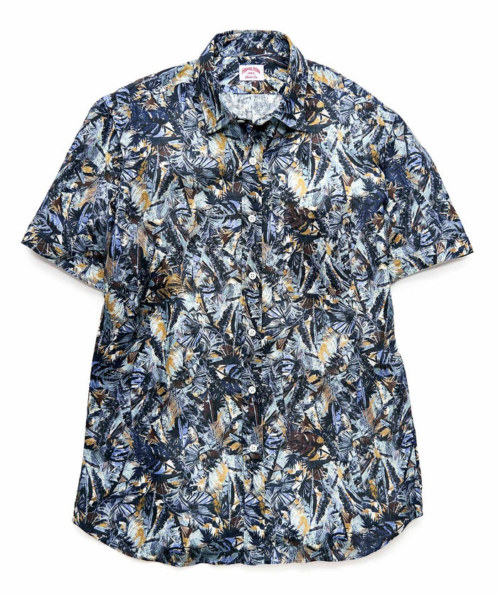Botanical Print SS Button Up Shirt, Navy w/ Dusty Blue & Gold