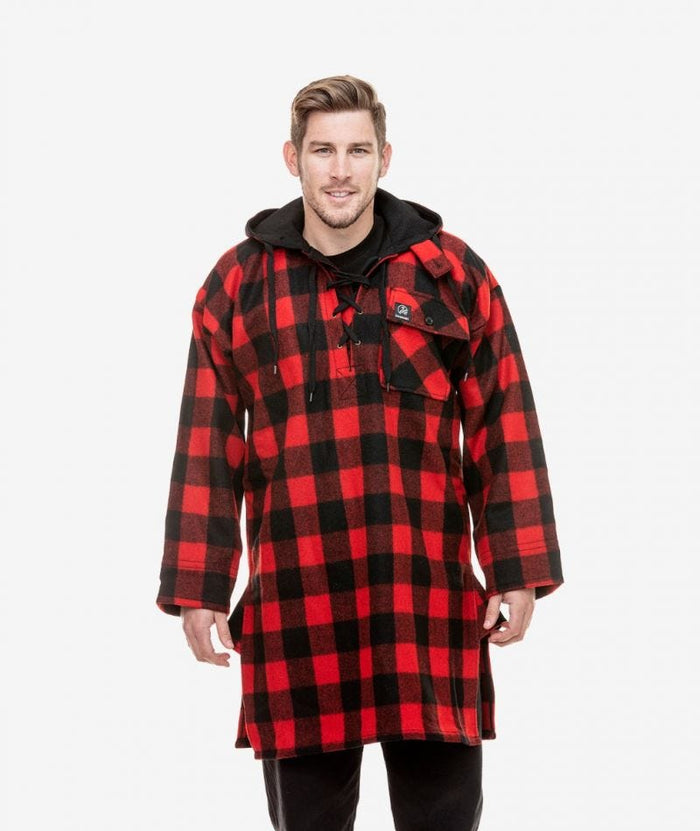Swanndri Original Lace Front Bush Shirt , Red/Black Check