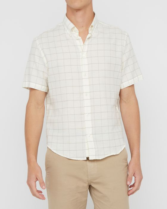 Billy Reid Murphy S/S Slim Shirt , Natural/Grey