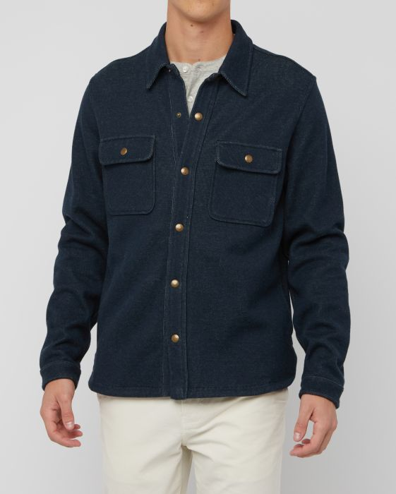 Billy Reid Cotton Alpaca Shirt Jacket, Dark Navy