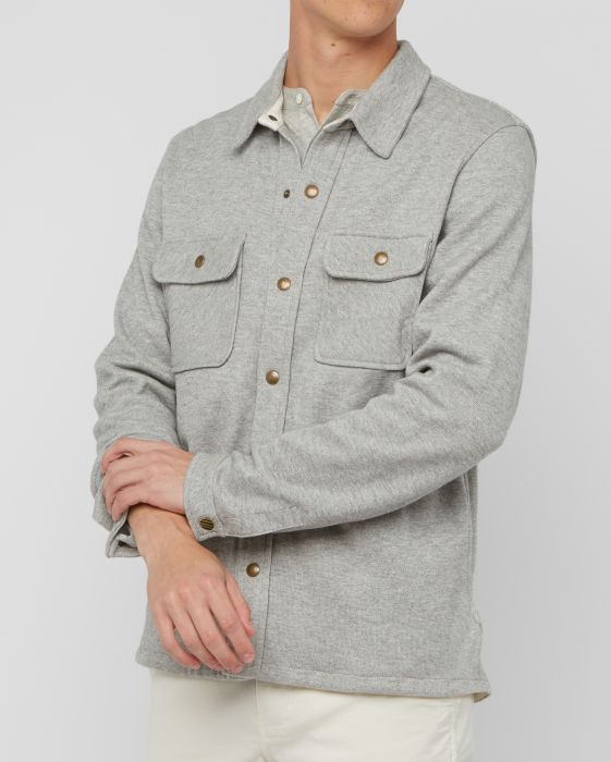 Billy Reid Cotton Alpaca Shirt Jacket, Light Grey