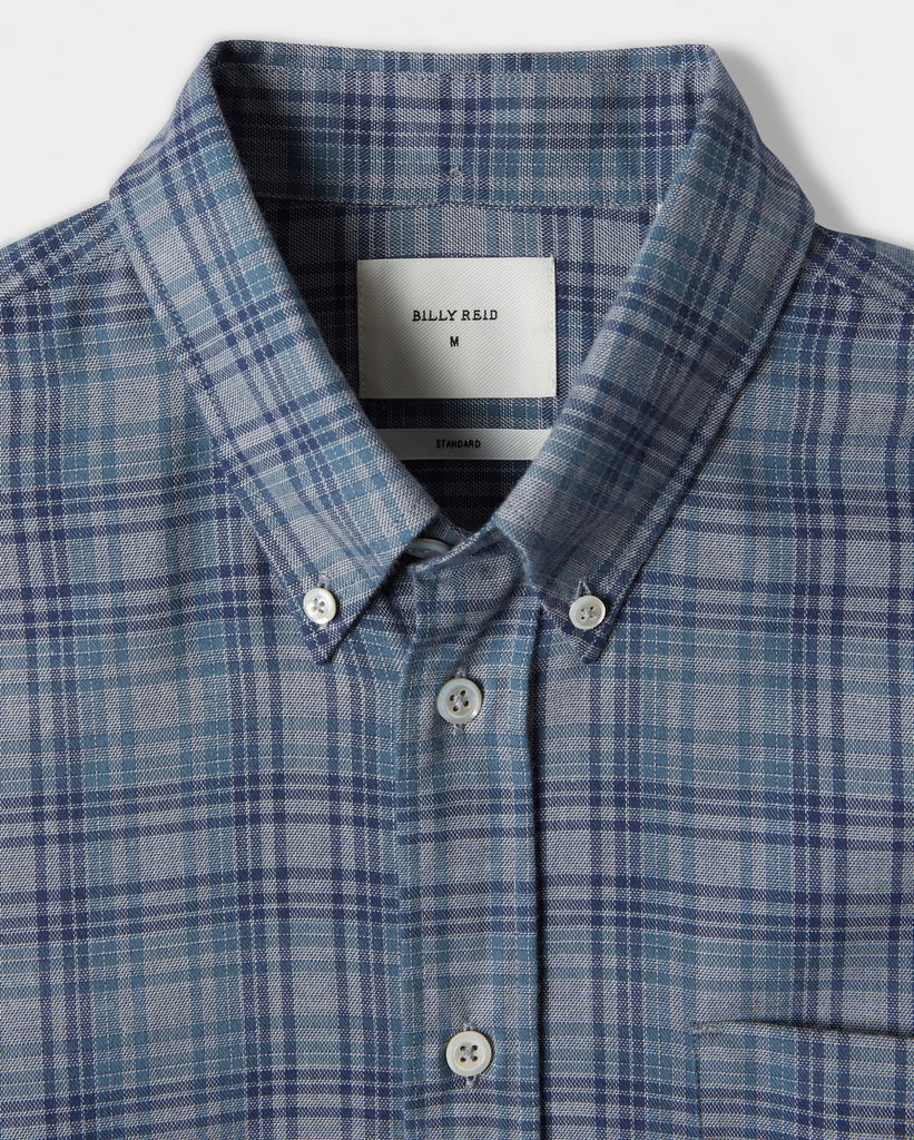 Billy Reid Offset Pocket Shirt, Grey/Blue