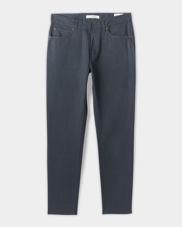 Billy Reid Cotton Linen 5 Pocket Pant, Carbon Blue