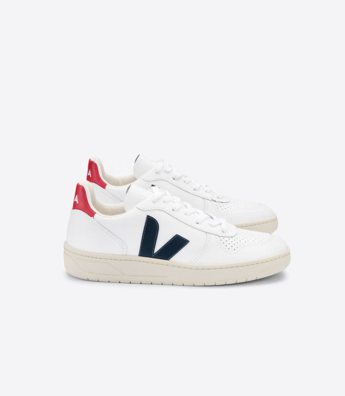 Veja Men's V-10 Leather, Extra White/Nautico/Pekin