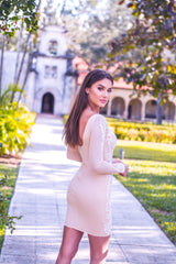 BARBARA DRESS IN NUDE WITH WHITE