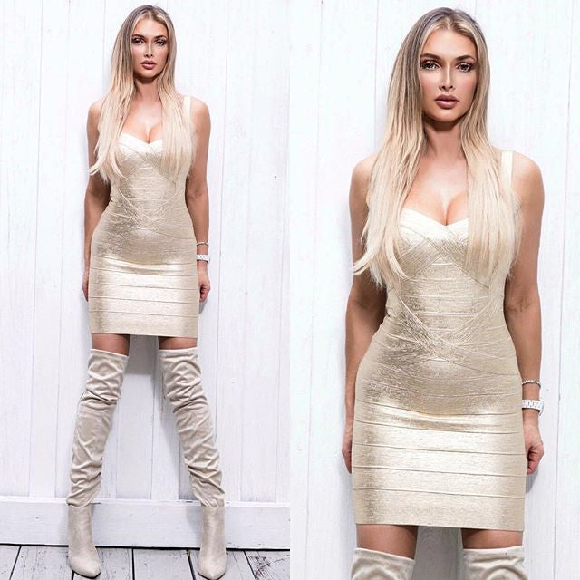 DANAE BANDAGE DRESS IN METALLIC  GOLD