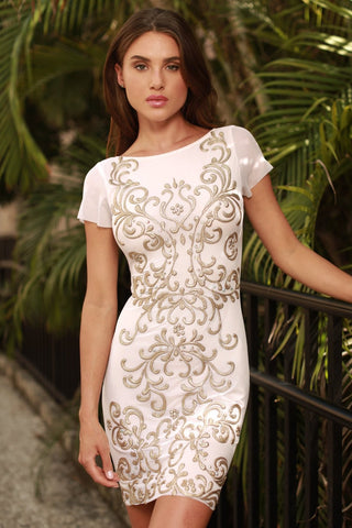 OMARINE DRESS IN WHITE WITH GOLD