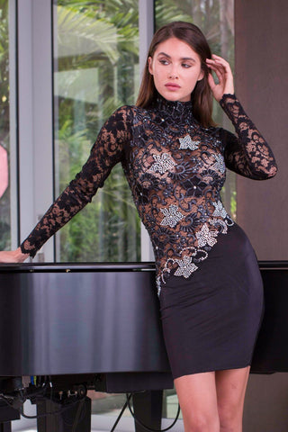 ASTRID LACE DRESS WITH CRYSTALS