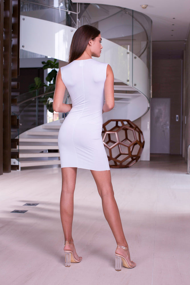 SWAN DRESS IN WHITE WITH SILVER