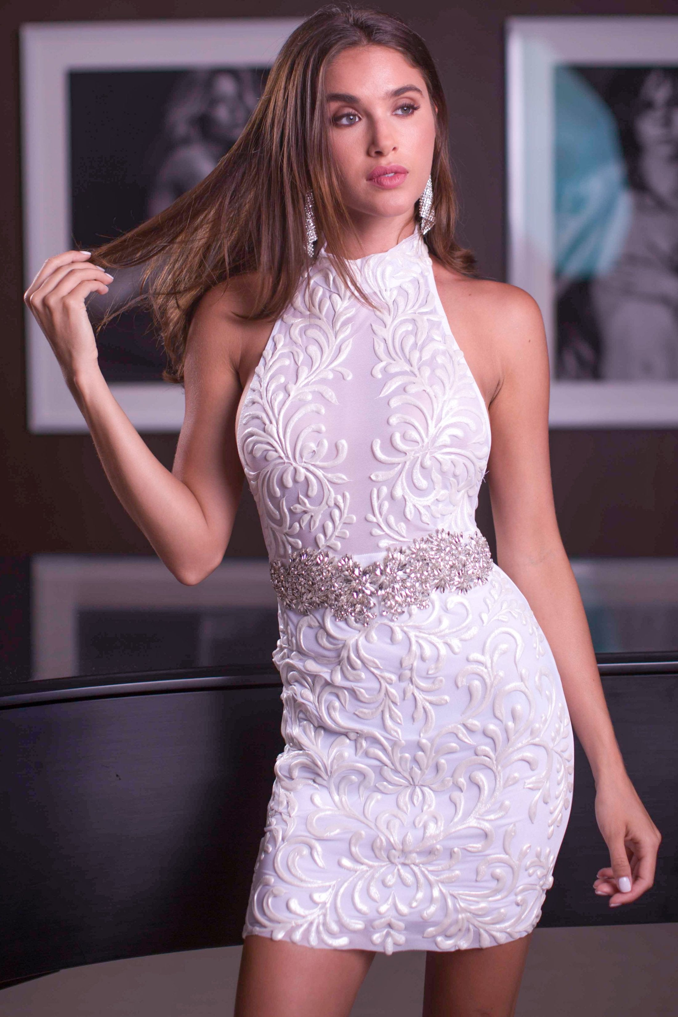 OCASIO DRESS IN WHITE WITH CRYSTALS