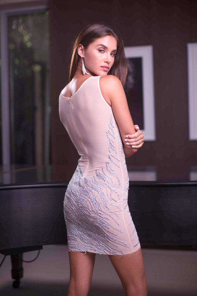 MORAD DRESS IN NUDE WITH SILVER
