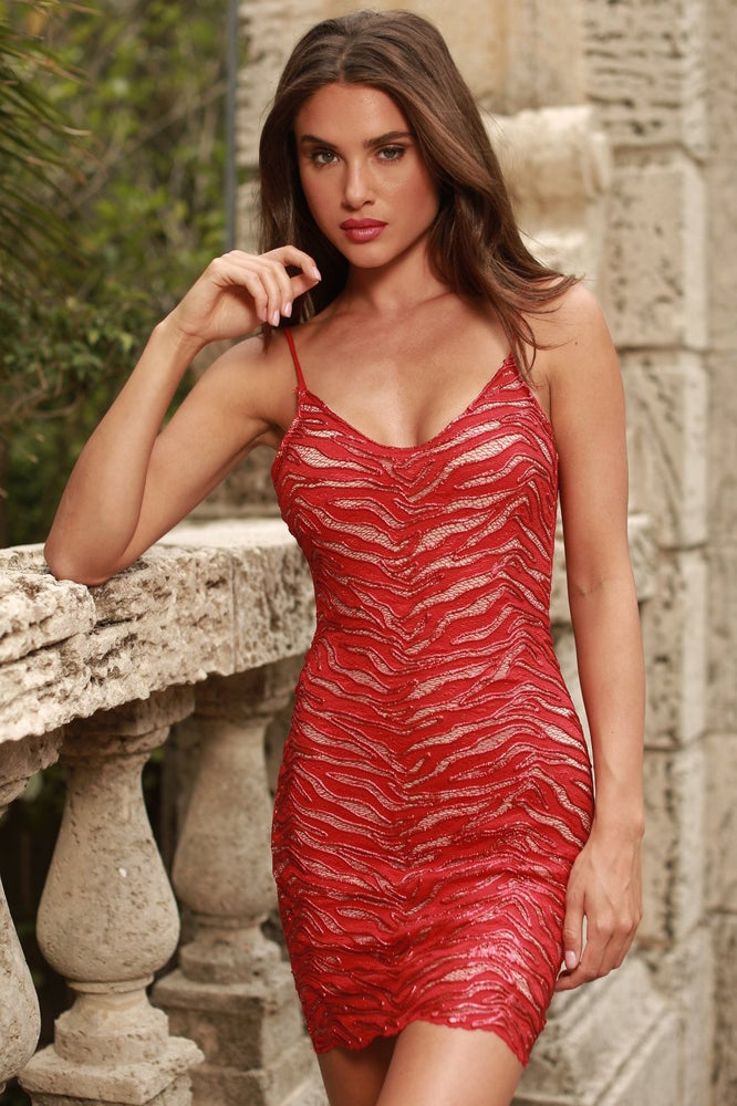 MARIELLA LACE DRESS IN RED - COLORS