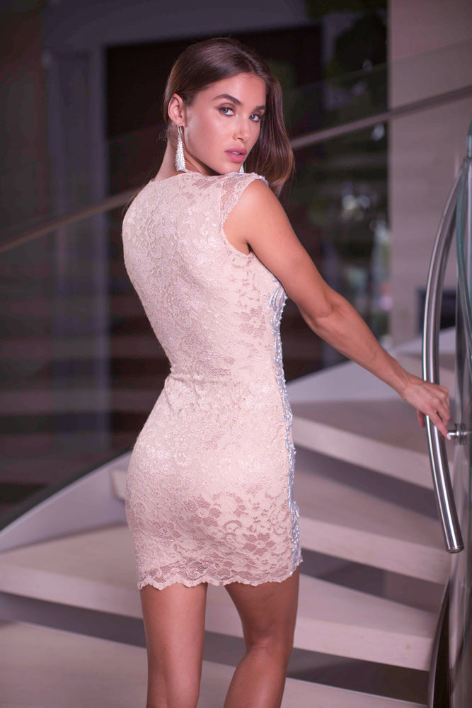 LILLY LACE DRESS IN BEIGE WITH SILVER