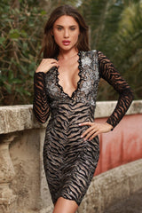 MIA LACE DRESS IN BLACK WITH SILVER