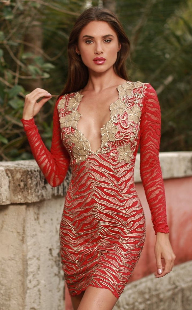 MIA LACE DRESS IN RED WITH GOLD