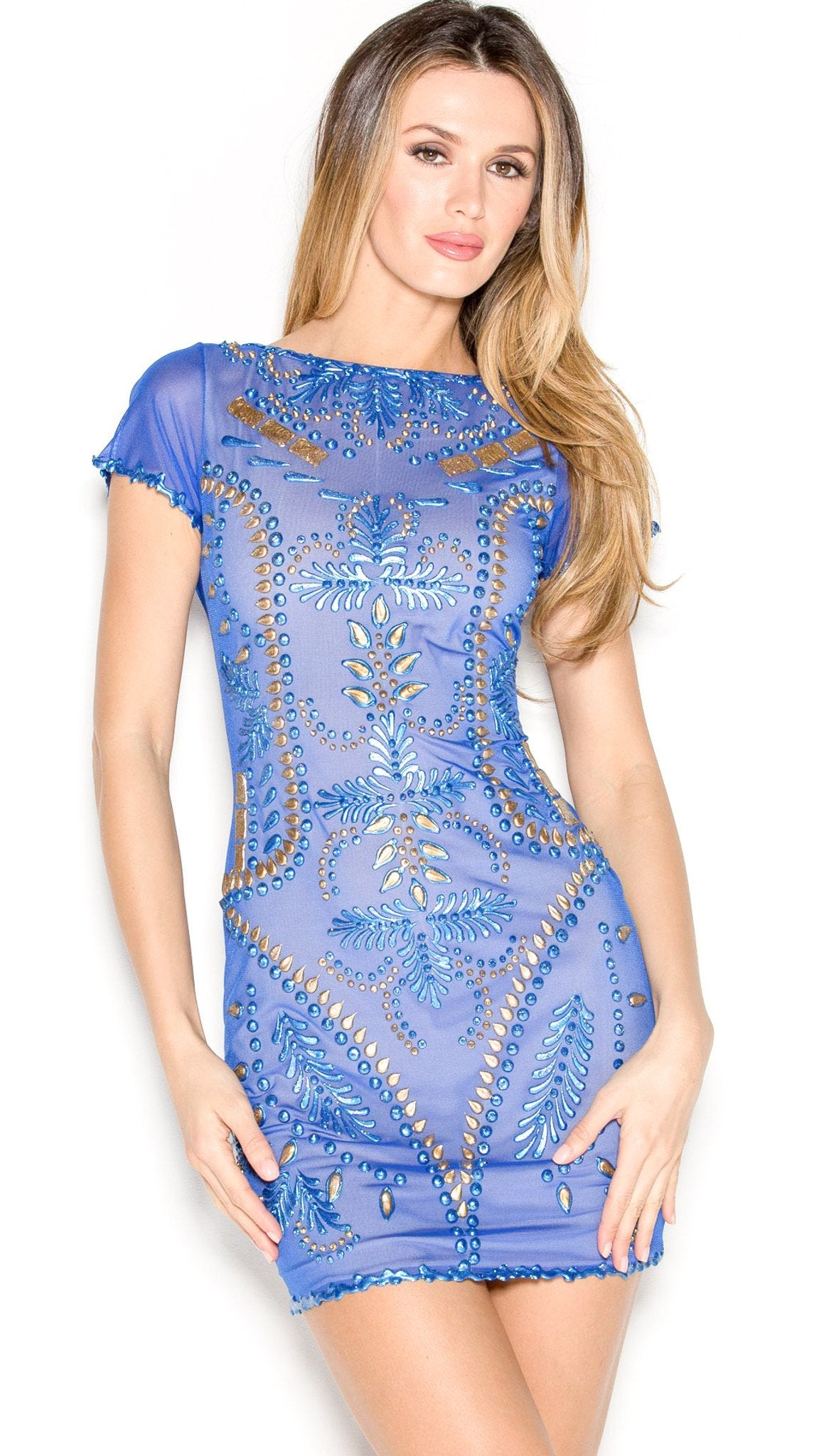 MEITAL DRESS IN ROYAL BLUE WITH GOLD