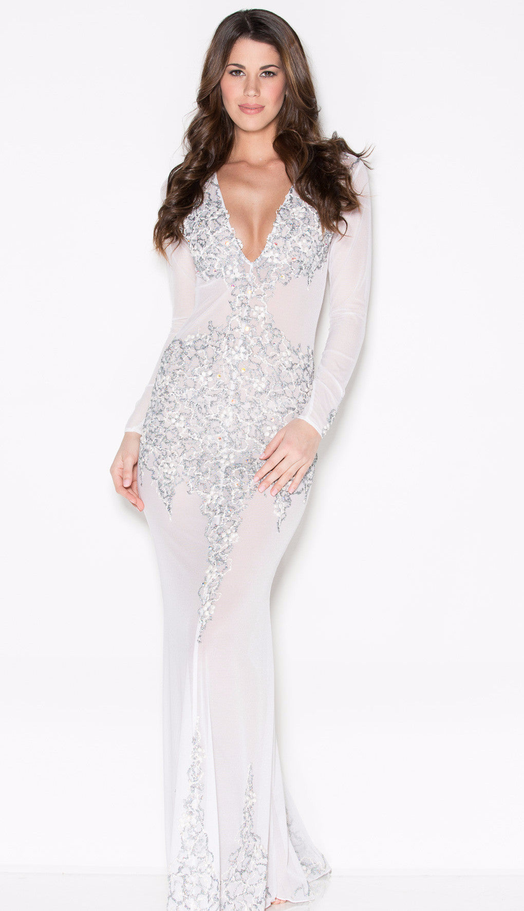 BEYONCE GOWN IN WHITE AND SILVER - HOLT