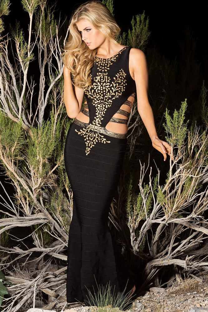 HELENA BANDAGE GOWN BLACK WITH GOLD