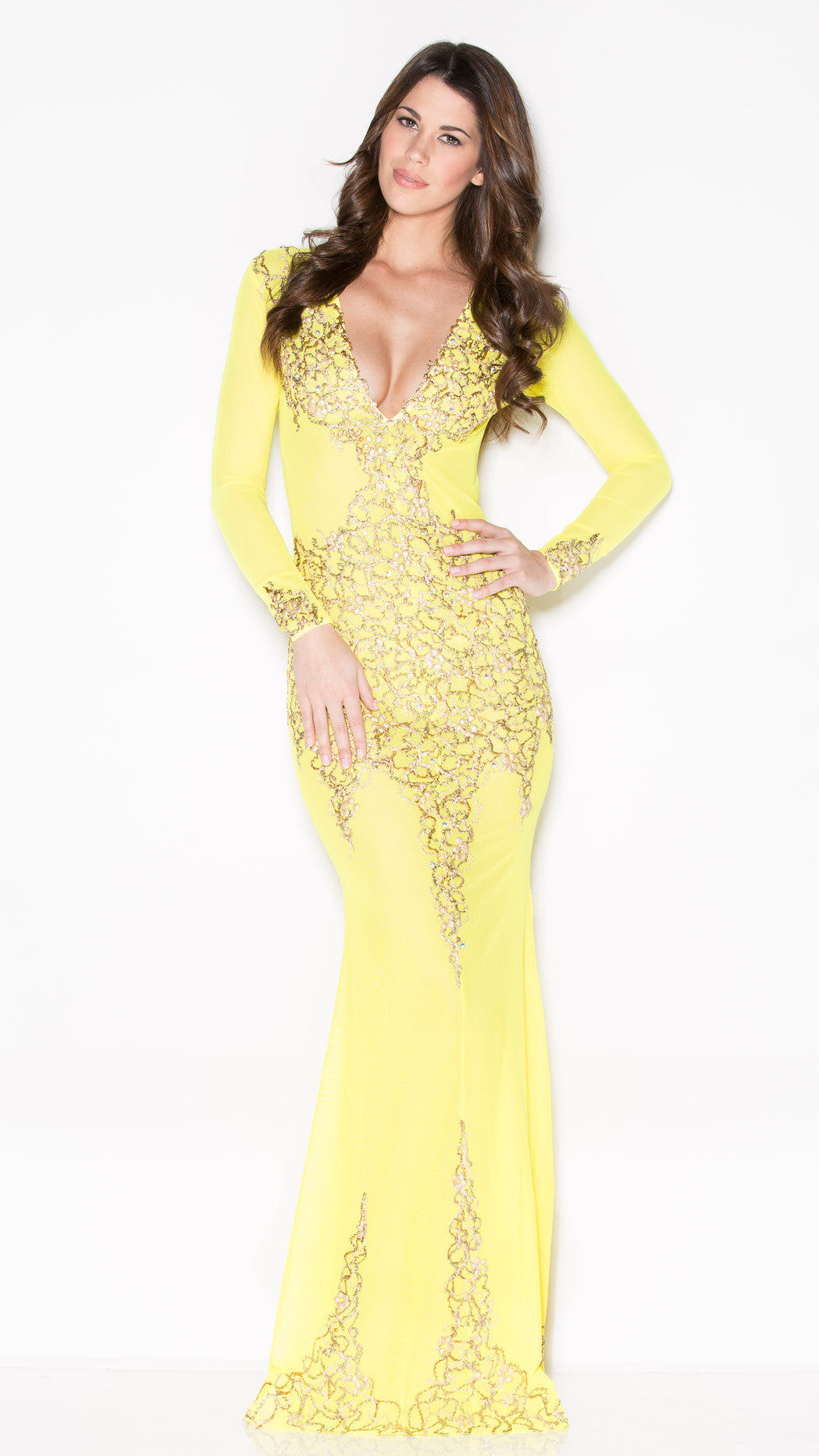 BEYONCE GOWN IN YELLOW WITH GOLD - HOLT