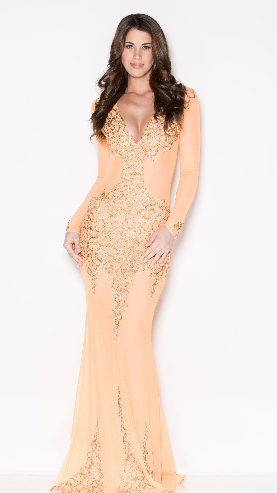 BEYONCE GOWN IN ORANGE WITH GOLD - HOLT