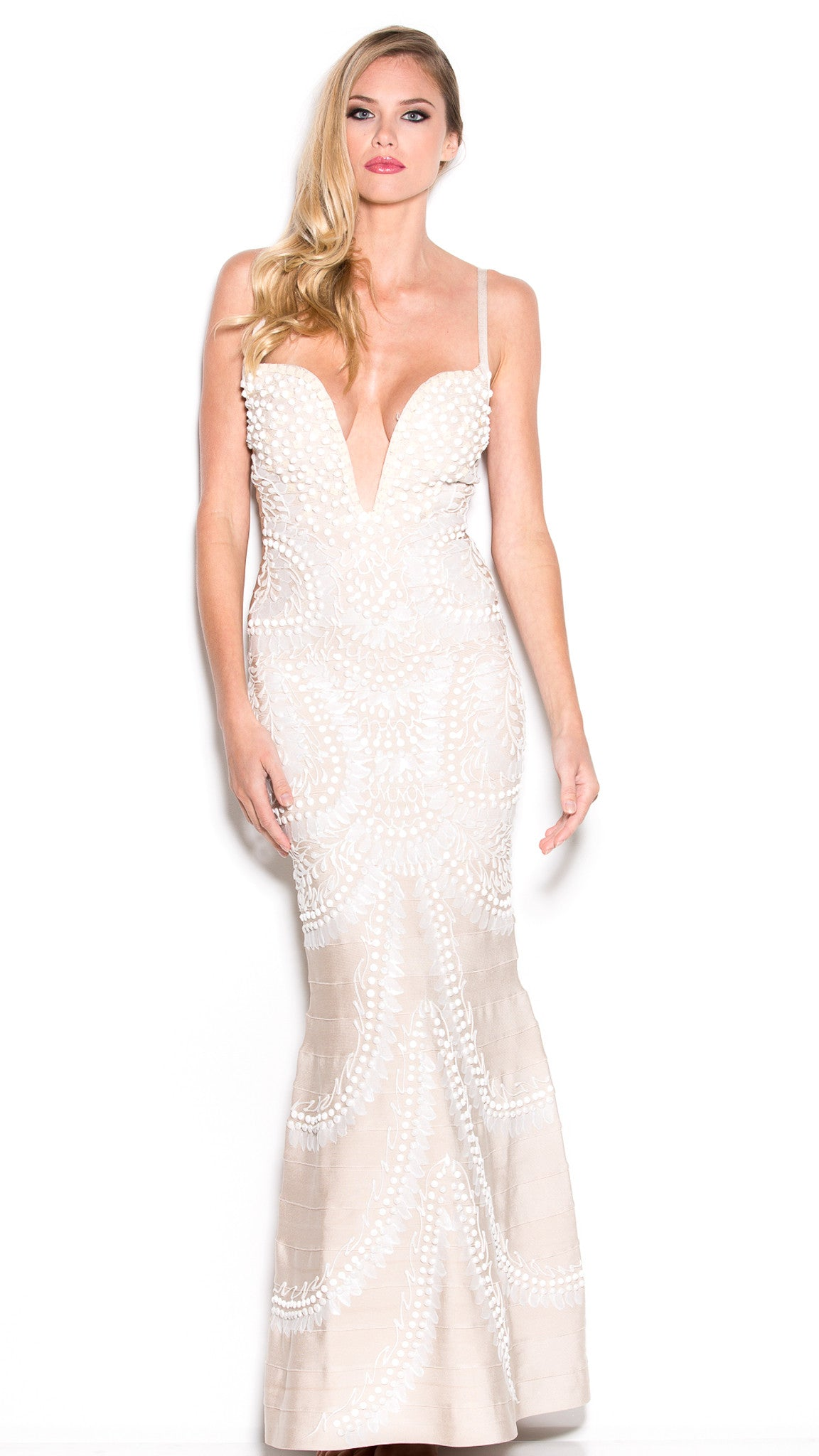 JATORIA BANDAGE GOWN IN NUDE WITH WHITE