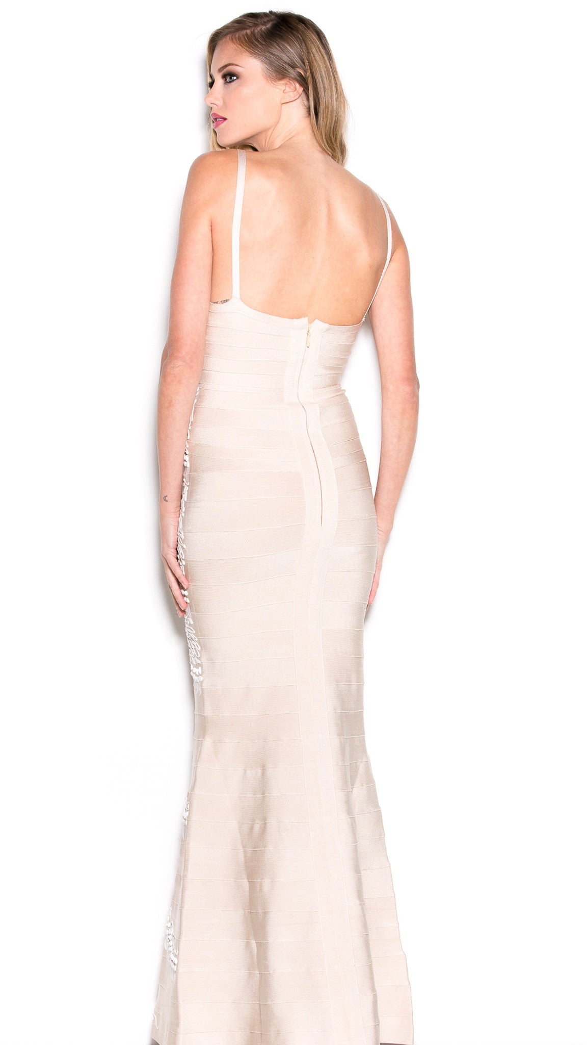 JATORIA BANDAGE GOWN IN NUDE WITH WHITE – HOLT
