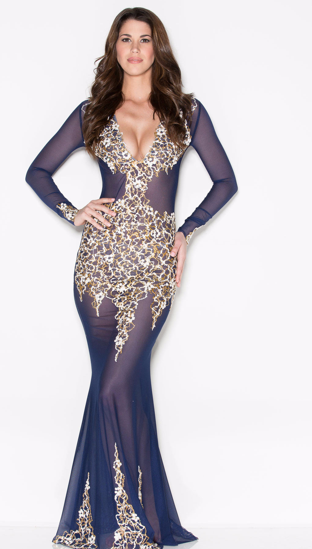 BEYONCE' GOWN IN NAVY WITH WHITE AND GOLD - HOLT