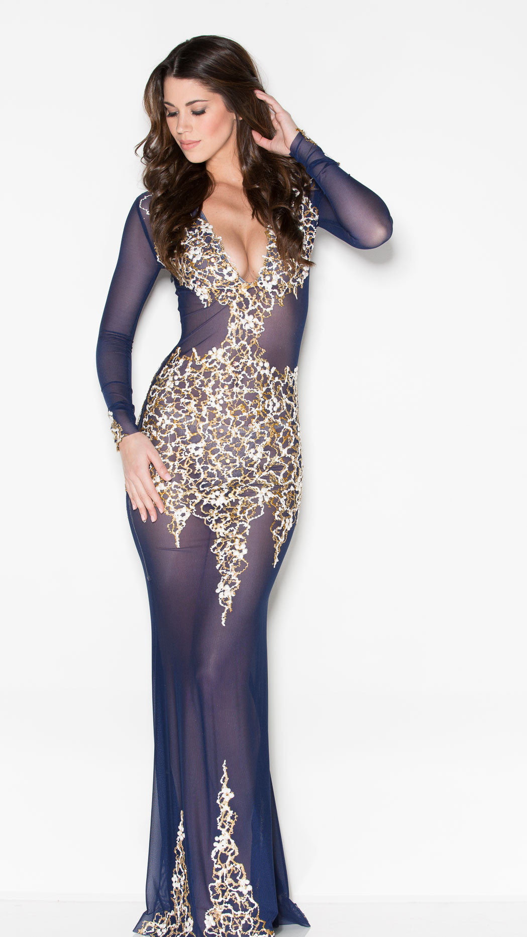 BEYONCE' GOWN IN NAVY WITH WHITE AND GOLD