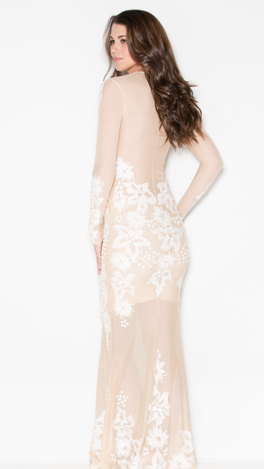 LACIE GOWN IN NUDE AND WHITE