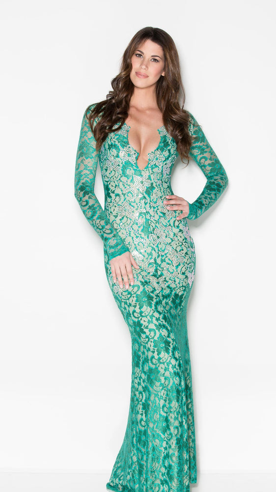 MARISSA CRYSTAL LACE GOWN IN EMERALD