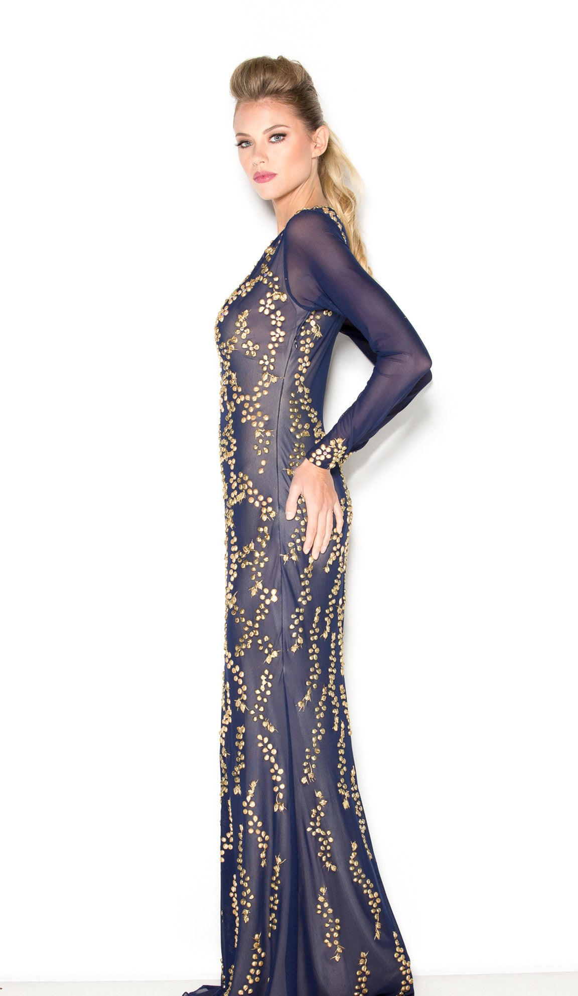 ALEXANDRA GOWN IN NAVY WITH GOLD - HOLT