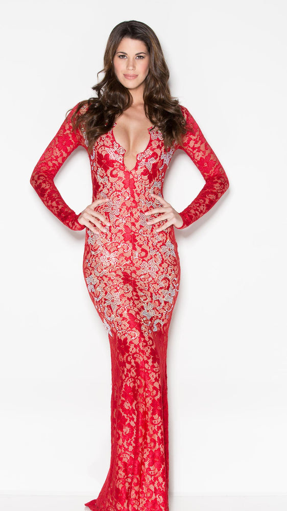 MARISSA CRYSTAL LACE  IN RED