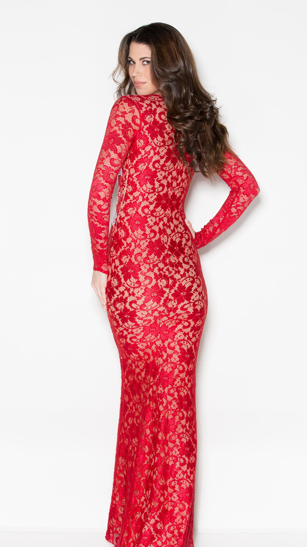 MARISSA CRYSTAL LACE GOWN IN RED