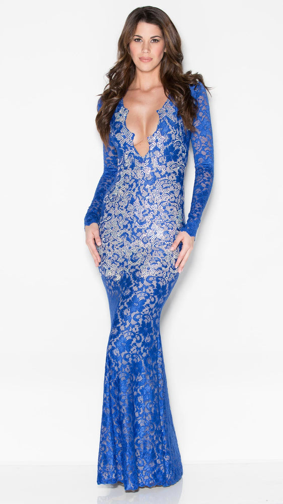 MARISSA CRYSTAL LACE GOWN IN BLUE