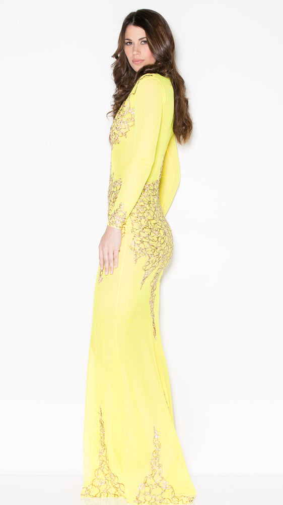 BEYONCE GOWN IN YELLOW WITH GOLD