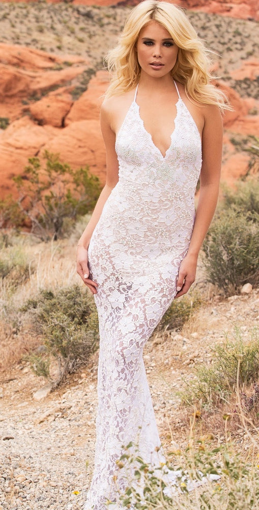 P21GOWN WITH  HALF CRYSTALS