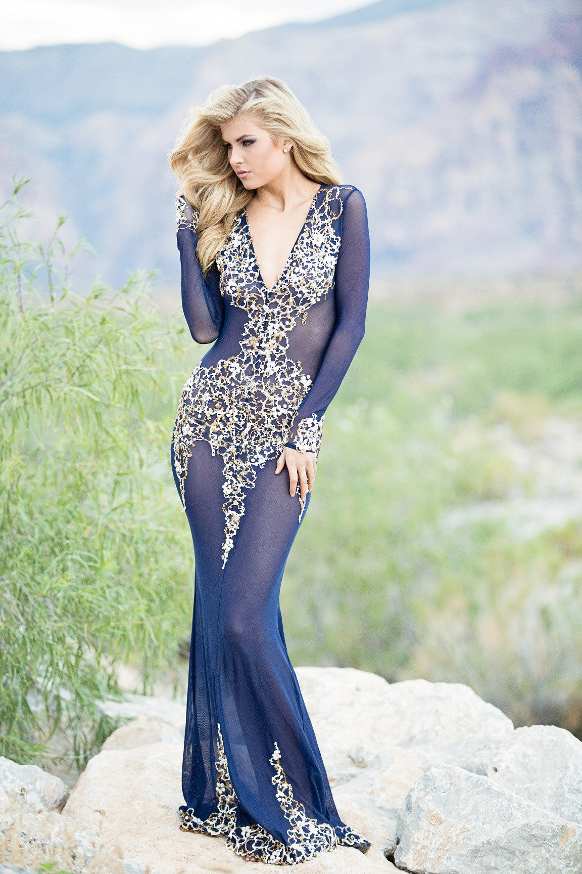 BEYONCE GOWN IN NAVY - HOLT