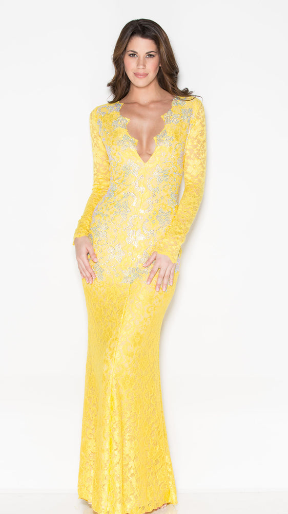 MARISSA CRYSTAL LACE GOWN IN YELLOW