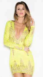 ADDISON LACE DRESS IN LIME
