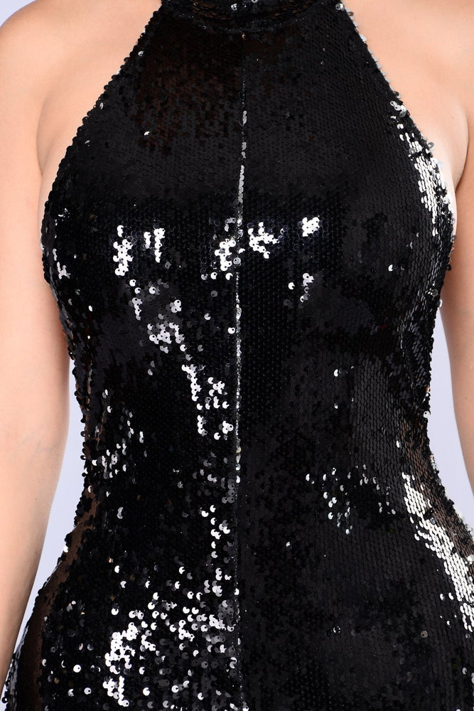 KYE SEQUIN JUMPSUIT  IN BLACK