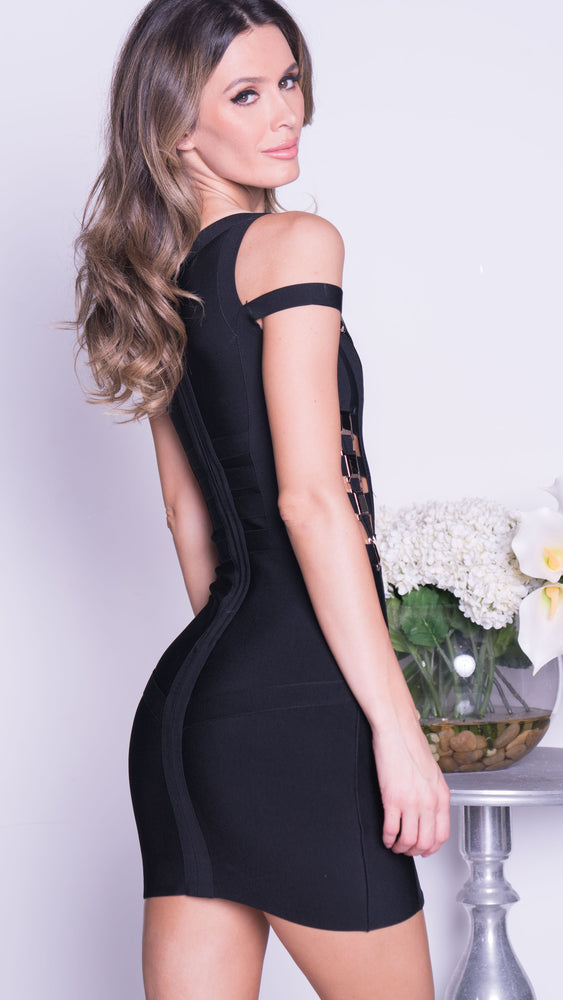 SMITH BANDAGE DRESS IN BLACK WITH GOLD HARDWARE