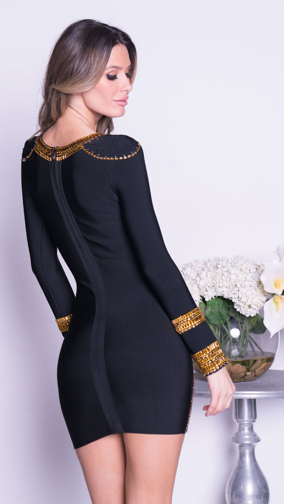 KIM BANDAGE DRESS IN BLACK WITH GOLD